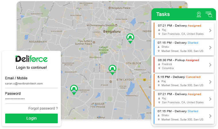Customer App, Delivery Agent App & Manager Dashboard